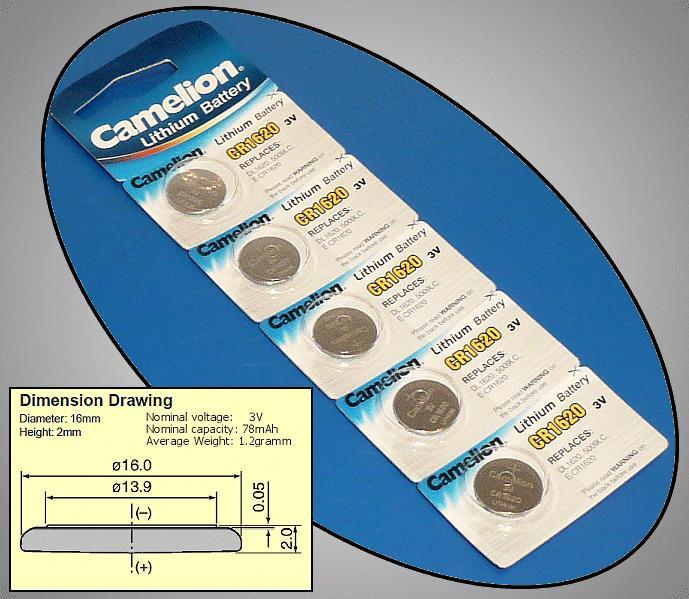 3V 78mAh lítium elem CR1620-C5 Camelion BAT CR1620 C