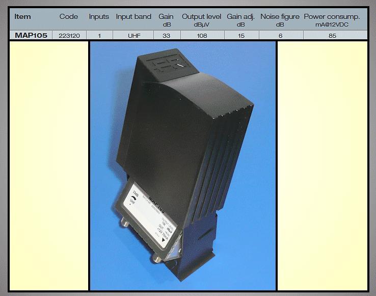 Antenna erősítő 470-862MHz 33dB ANT AMP MAP105