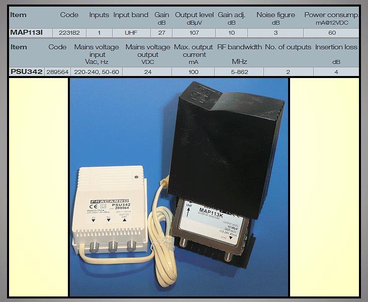 Antenna erősítő+TÁP 470-862MHz 27dB ANT AMP MAP113K