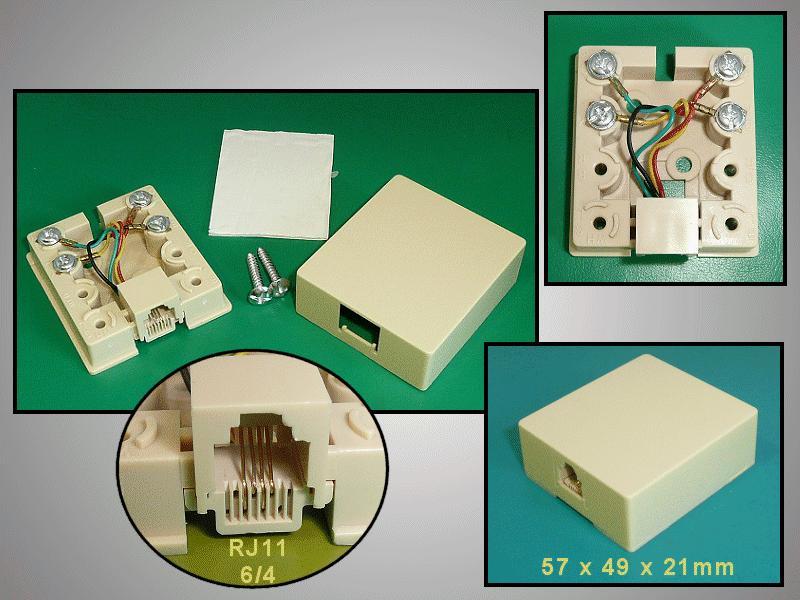 RJ11 fali aljzat 1x6/4 öntapadós CSAT-T016 6/4