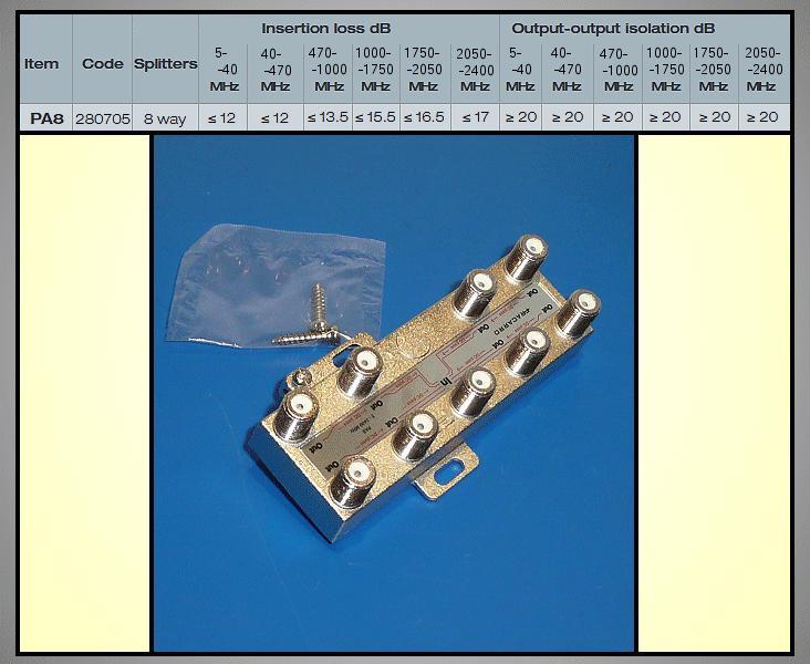 8-as elosztó 5-2400MHz DC iránycsatolt FC-808