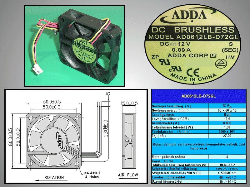 Ventilátor / AD0612LB-D72GL,P.B.T UL94-VO,WIRE W2-BP3100011A