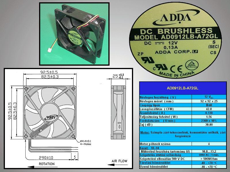 Ventilátor / SVP-50L7XHD,UL94V-0, PBT,WIRE LEN W2-BP3100010B
