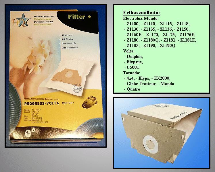 Porszívó papír porzsák 4db+1F E44 5rétegű W7-00702B