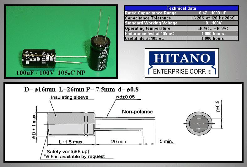 ELKO 100uF 100V 105°C BIPOLAR álló 100/100BP-105 H -
