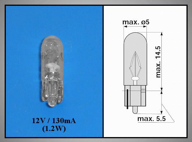 Izzó 12V 130mA 1.2W LAMP12V/130-T5C