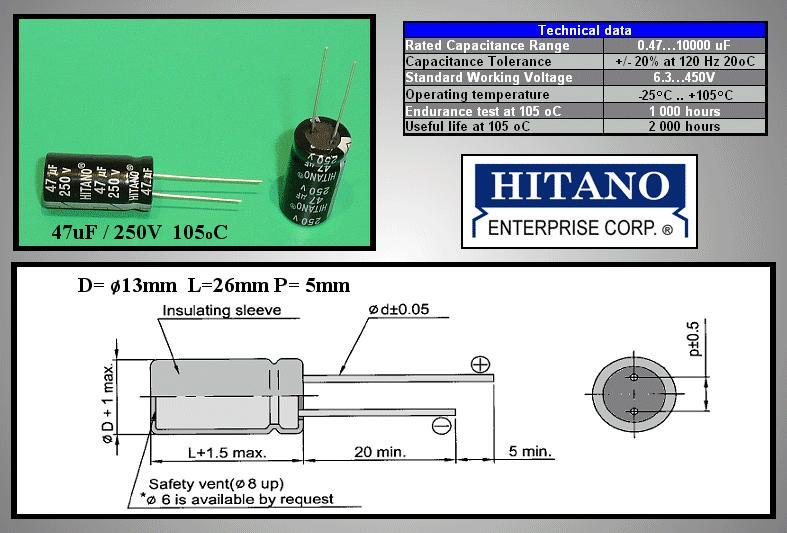 ELKO 47uF 250V 105°C 13x26 álló 47/250P-105 H