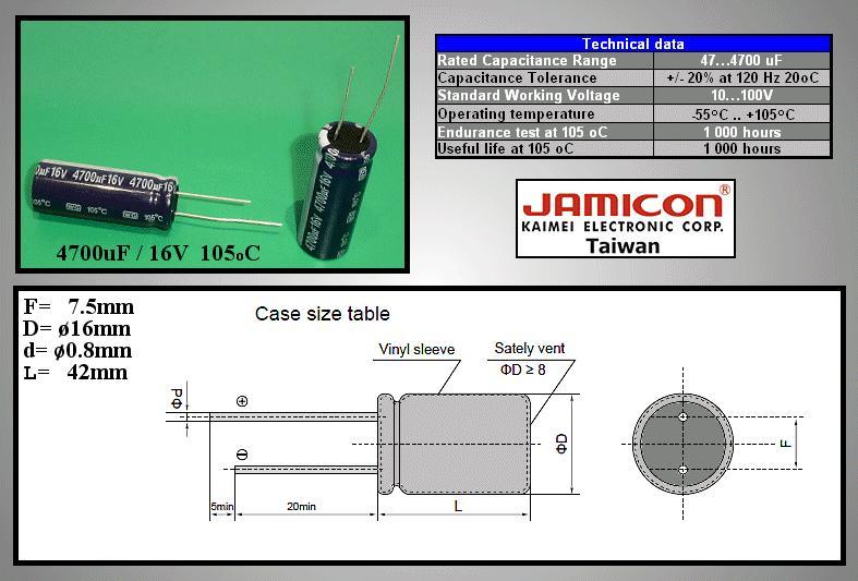 ELKO 4700uF 16V 105°C 16x40 Low-ESR álló WGR 4700/16P-105ESR X