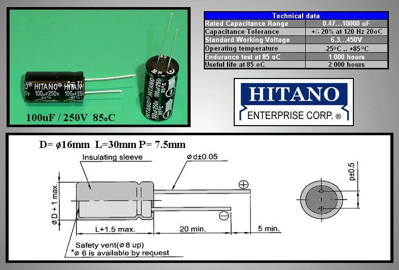 ELKO 100uF 250V 85°C 16x32 álló 100/250P H