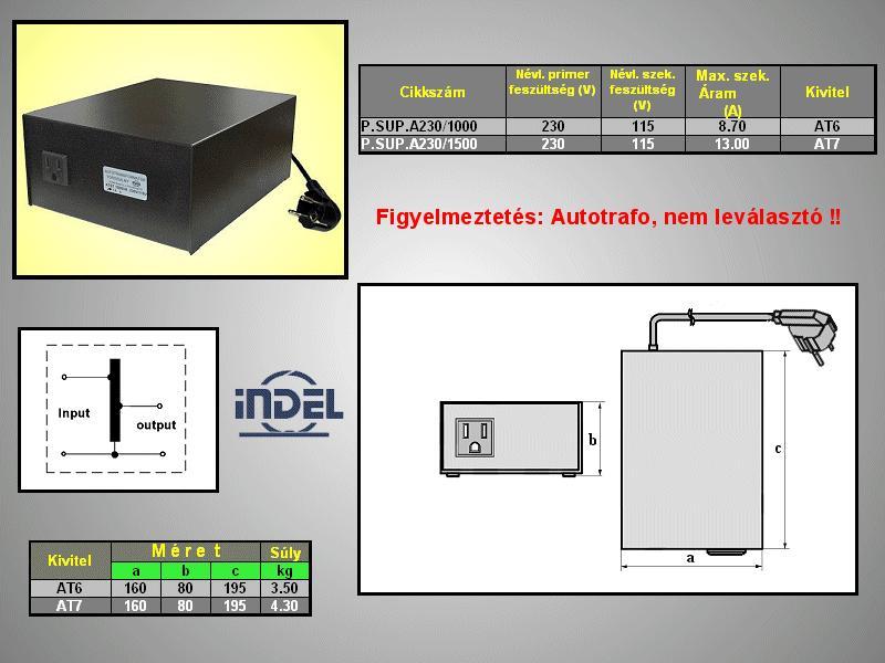 230VAC -> 115VAC 1500VA adapter (földelt) P.SUP.A230/1500