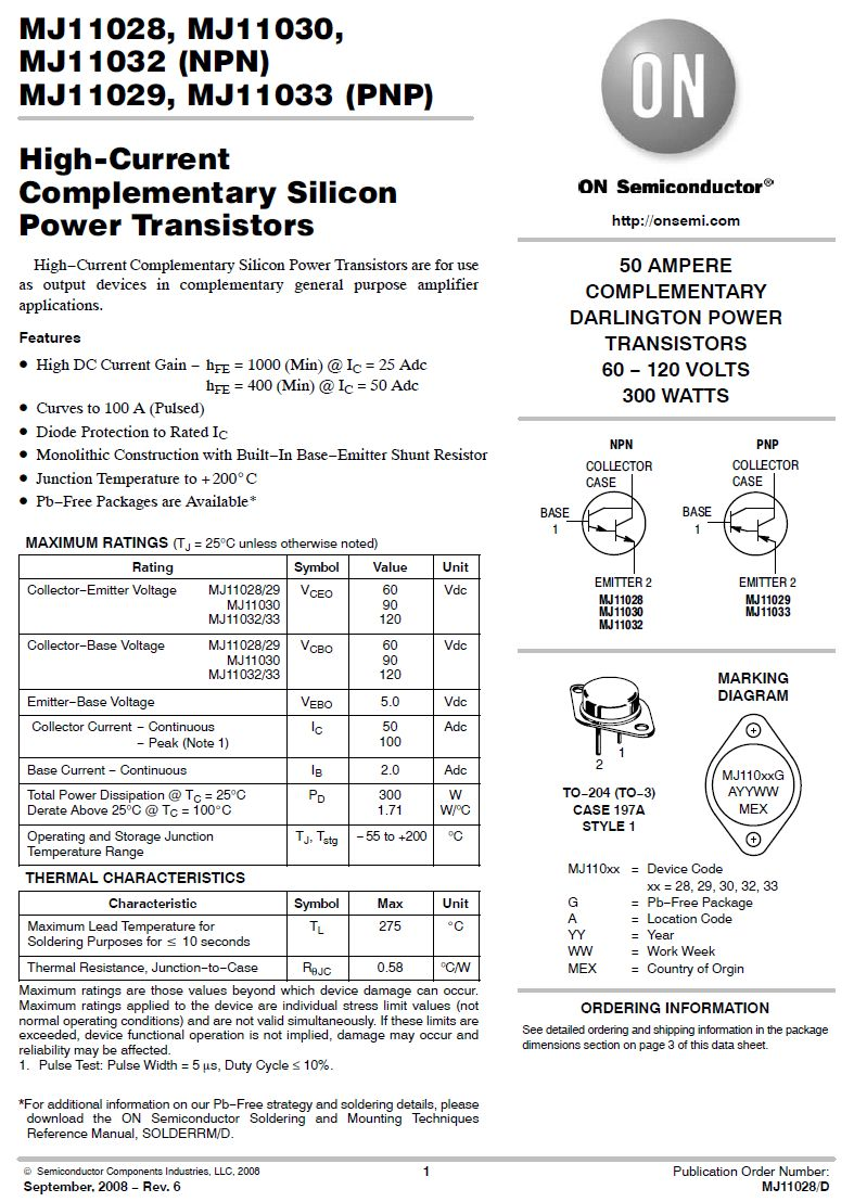 Tranzisztor PNP Darlington+D 120V 50A/100Ap. 300W SL MJ11033 MJ11033