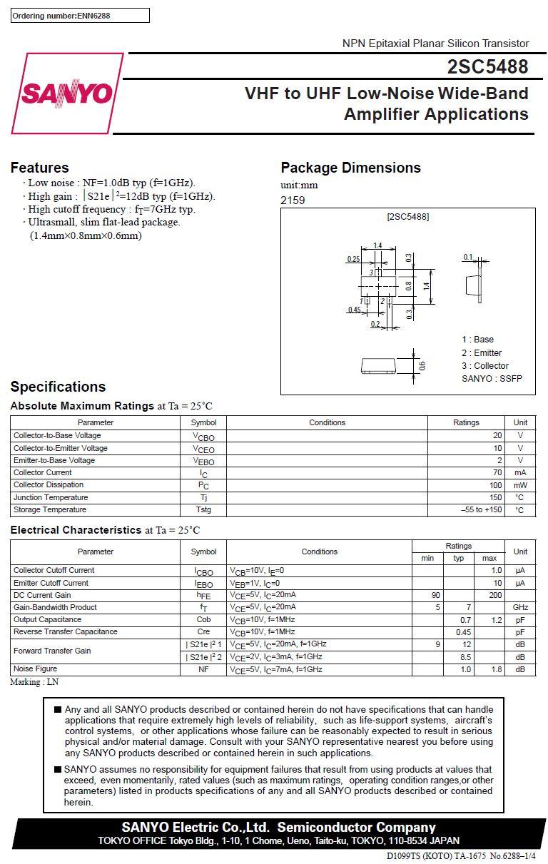 Tranzisztor NPN 20V 0.07A 7GHz 0.1W Cob: 0.7pF hFE: 90-200 2SC5488A 2SC5488A