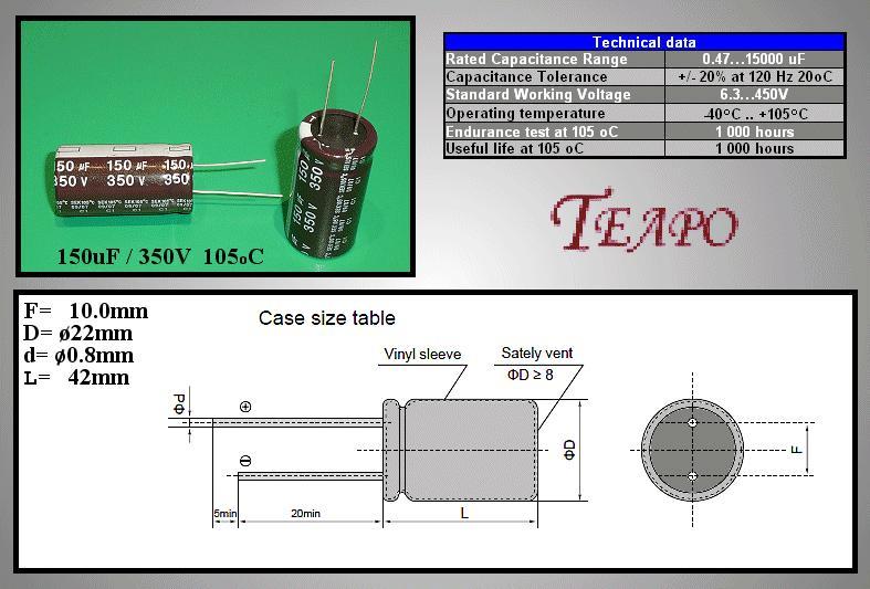 ELKO 150uF 350V 105°C 22x40 álló 150/350P-105