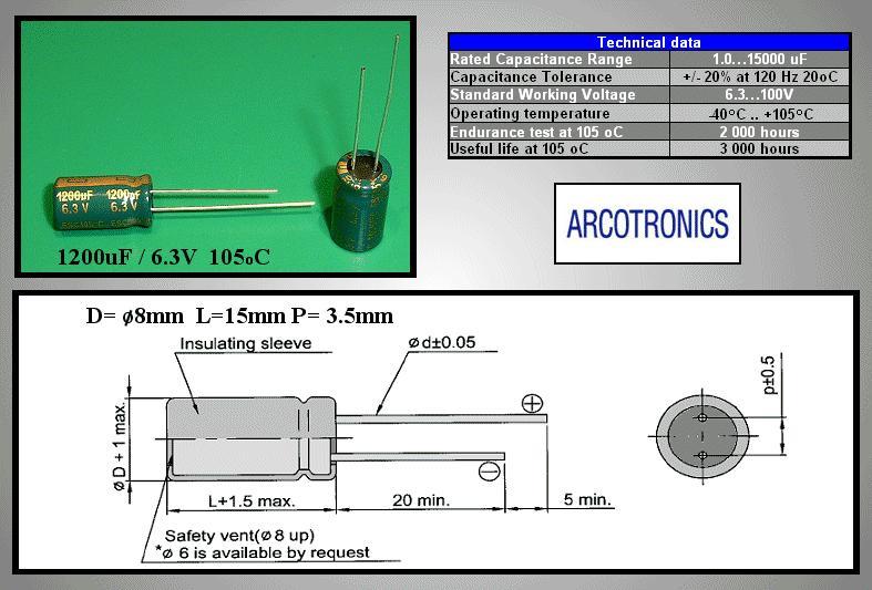 ELKO 1200uF 6.3V 105°C 8x15 Low-ESR álló 1200/6.3P-105ES -
