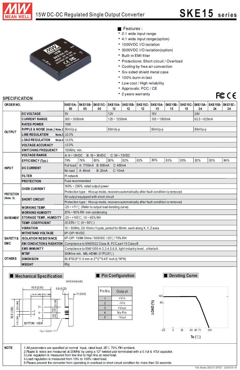 DC/DC átalakító be: 12V ki: 24V 62..625mA DC12-24S/15W