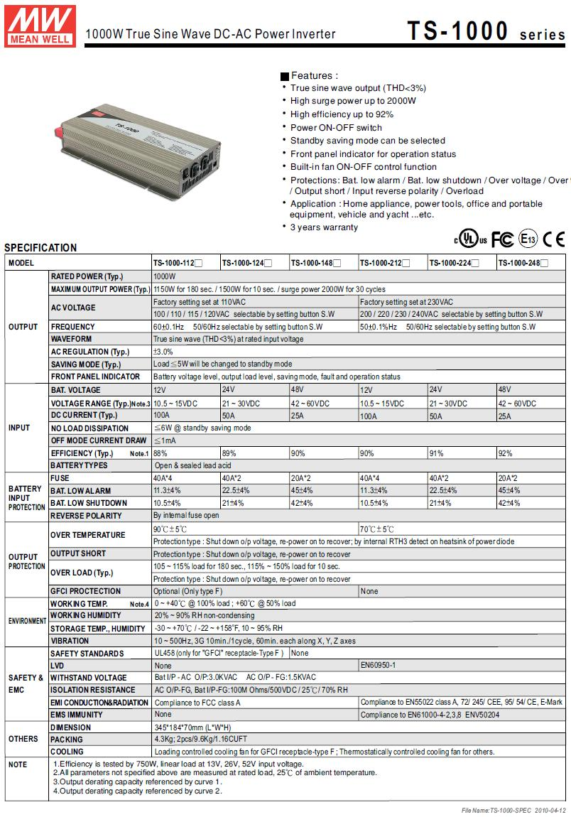12VDC -> 230VAC 5W...1000W inverter (szinuszos) P.SUP.INV1000S1