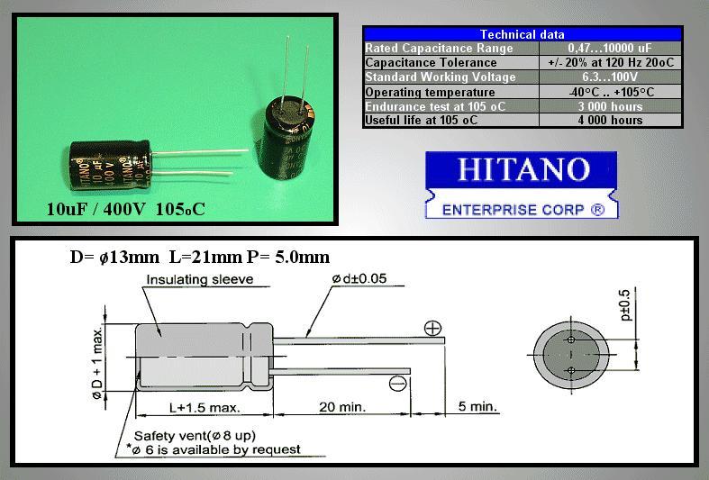 ELKO 10uF 400V 105°C 13x21 Low-ESR álló 10/400P-105ESR H
