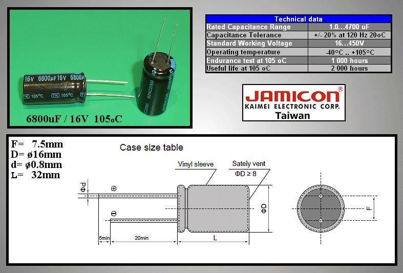 ELKO 6800uF 16V 105°C 16x32 álló 6800/16P-105 X -