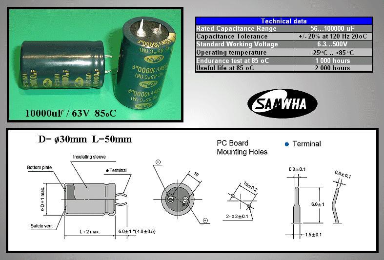 ELKO 10000uF 63V 85°C 30x50 Snap-In 10000/63P S