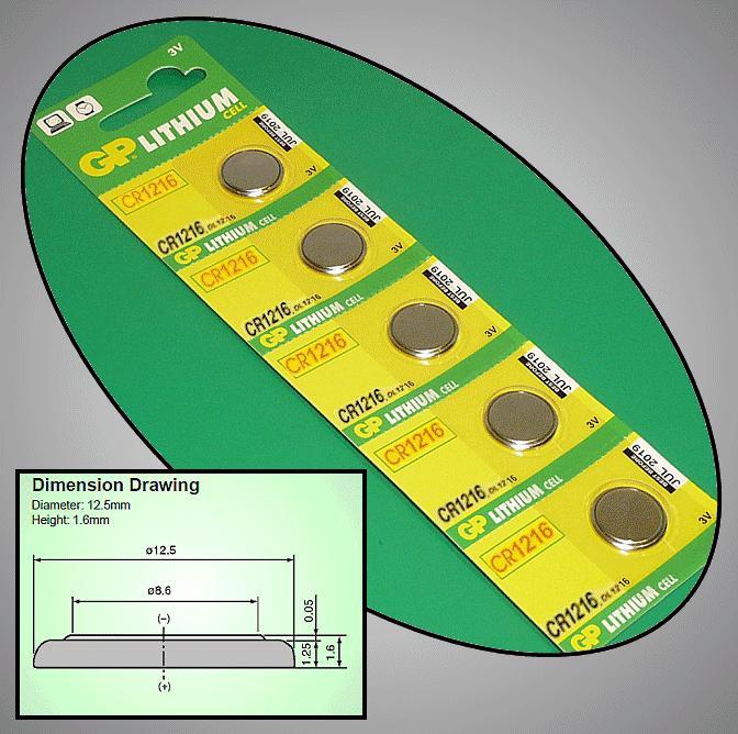 3V 25mAh lítium elem GP CR1216-C5 BAT CR1216