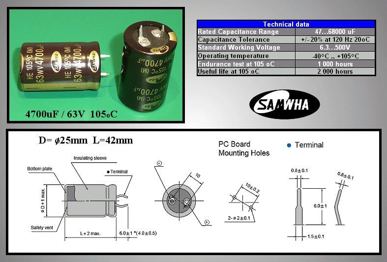 ELKO 4700uF 63V 105°C 25x40 Snap-In HE 4700/63P-105 S