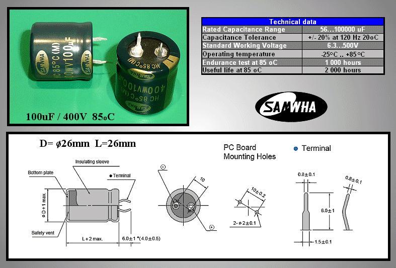 ELKO 100uF 400V 85°C 25x26 Snap-in 100/400P 25X26