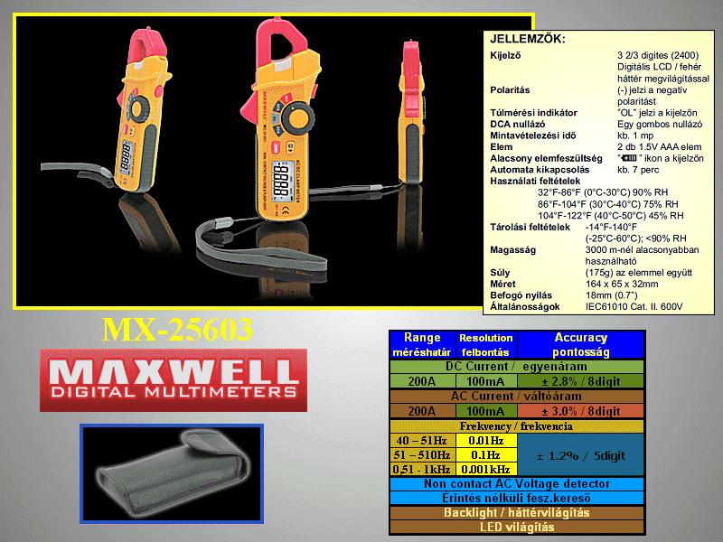 4Digites Digitális lakatfogó 0,1A-200A M.M-MC-25603