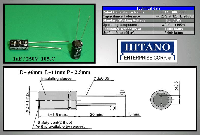 ELKO 1uF 250V 105°C 6.3x11 álló 1/250P-105 H