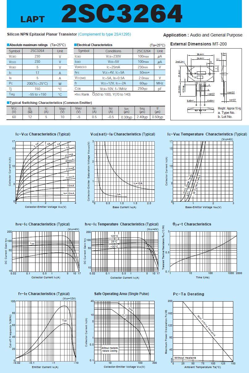 SI-N 230V 17A 200W 60MHz NF/SL 2SC3264-SKN