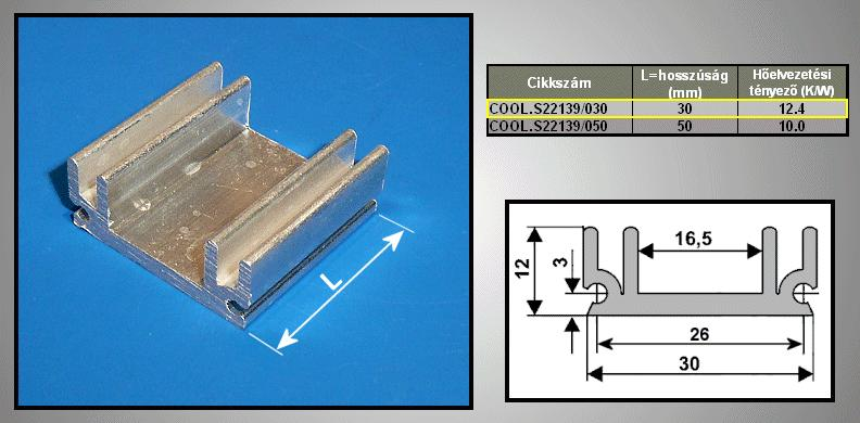 Hűtőborda 85cm2 30x12x30mm COOL.S22139/030