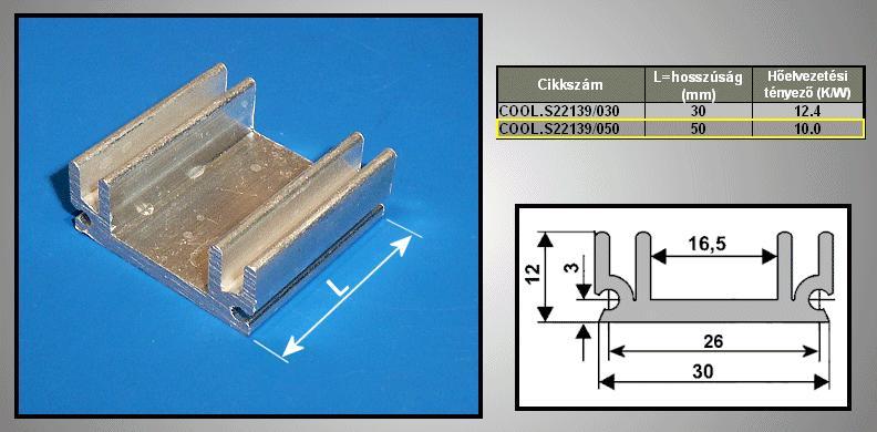 Hűtőborda 85cm2 30x12x50mm COOL.S22139/050