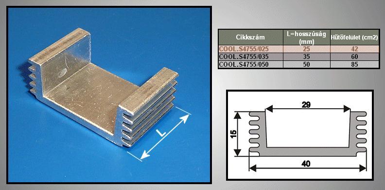 Hűtőborda 42cm2 40x15x25mm COOL.S4755/025