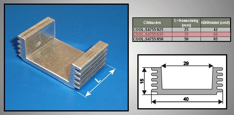 Hűtőborda 60cm2 40x15x35mm COOL.S4755/035