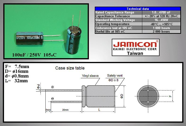 ELKO 100uF 250V 105°C 16x31.5 álló 100/250P-105 X -