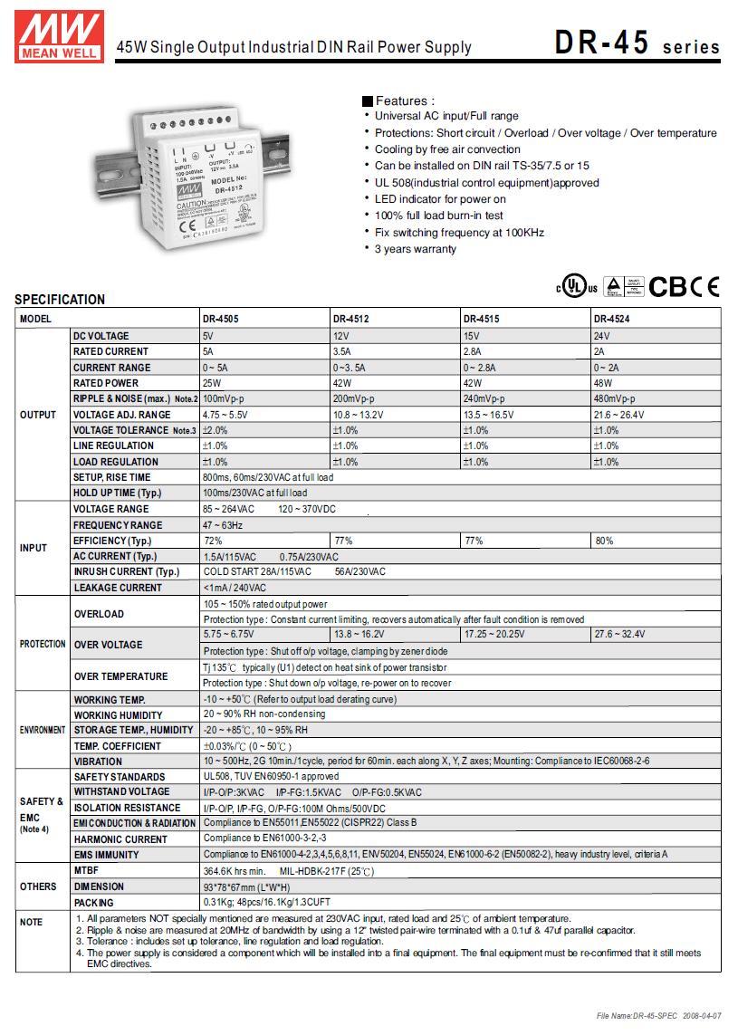 SMPS tápegység 85...264VAC 42W 12VDC 0...3.5A sínre szerelhető P.SUP.DR4512