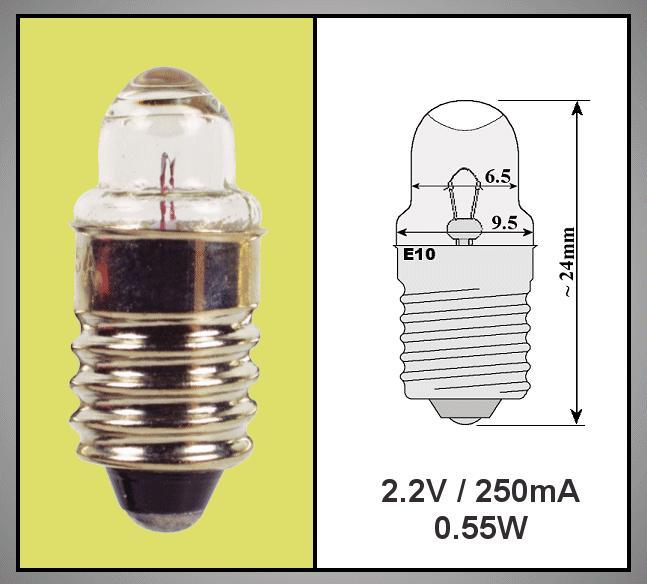Izzó 2.2V 250mA 0.55W E10 Lencsés LAMP2.2V/250
