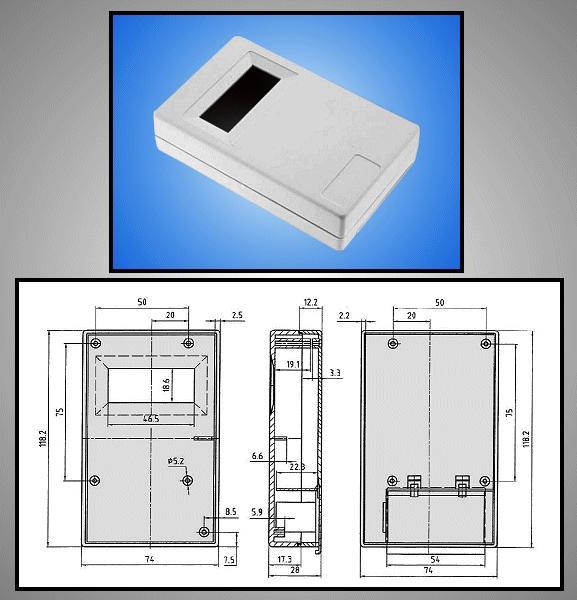 BOX 117x73x28mm ablakos, elemtartó hellyel BOX KM33C/ABS