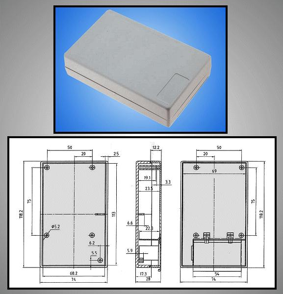BOX 117x73x28mm zárt, elemtartó hellyel BOX KM33B/ABS