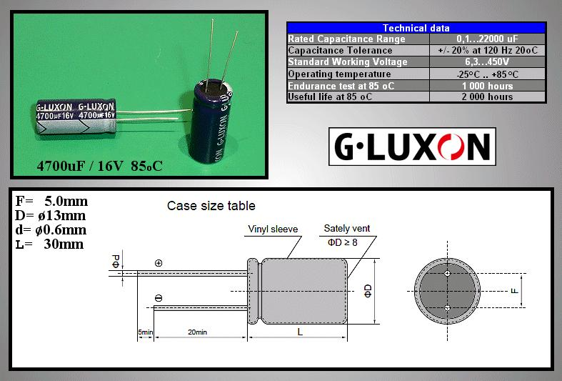 ELKO 4700uF 16V 85°C 13x30 álló 4700/16P -