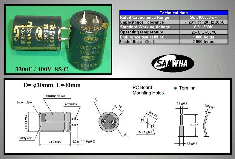 ELKO 330uF 400V 85°C 30x40 Snap-In 2p. 330/400P 30X40