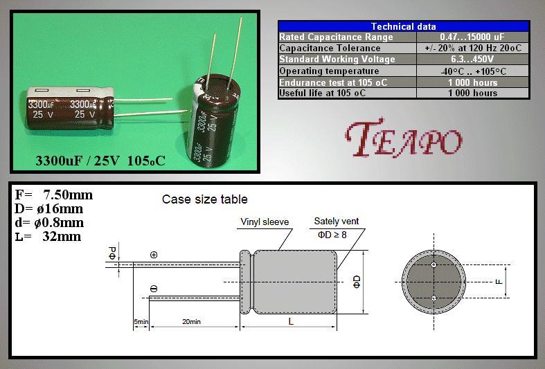 ELKO 3300uF 25V 105°C álló 3300/25P-105