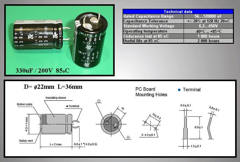 ELKO 330uF 200V 105°C 18x40 álló 330/200P-105
