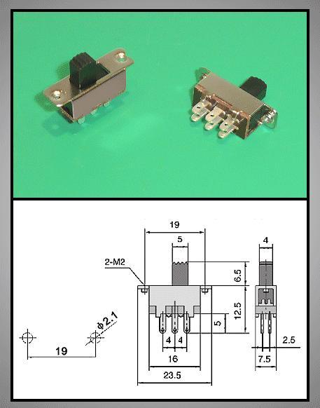 Tóló kapcsoló 2x3p. 23x7.5mm (2 áramkörös) SW18200/C