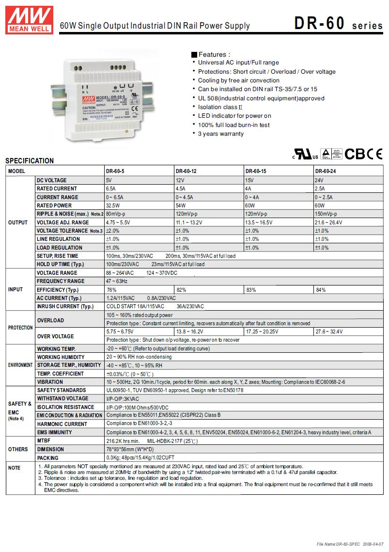 SMPS tápegység 88...264VAC 54W 12VDC 0...4.5A sínre szerelhető P.SUP.DR6012