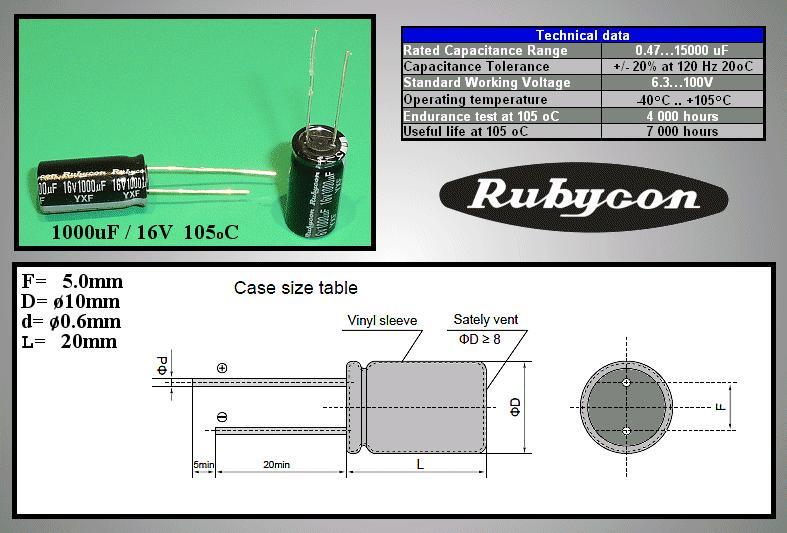 ELKO 1000uF 16V 105°C 10x20 Low-ESR YXF 1000/16P-105ESR R -