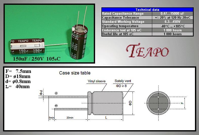 ELKO 150uF 250V 105°C 18x25 álló 150/250P-105