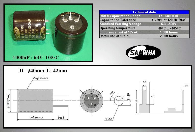 ELKO 10000uF 63V 105°C 40x40 HE Snap-In 4p. 10000/63P-105 S