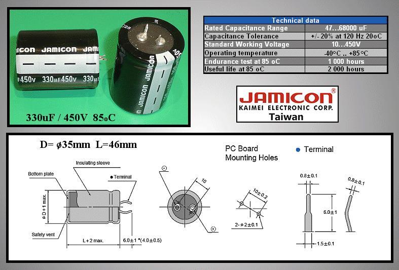 ELKO 330uF 450V 85°C 35x45 Snap-In 2p. 330/450P