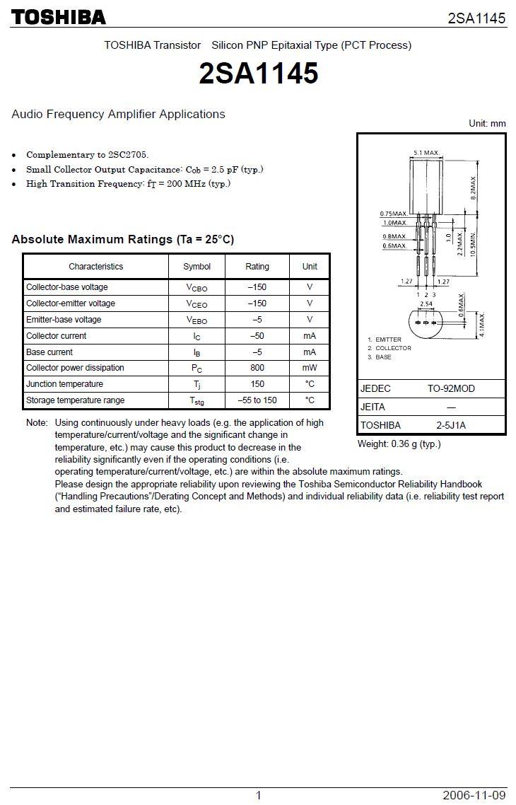 Tranzisztor PNP 150V 0.05A 0.8W 200MHz 2SA1145 2SA1145 -