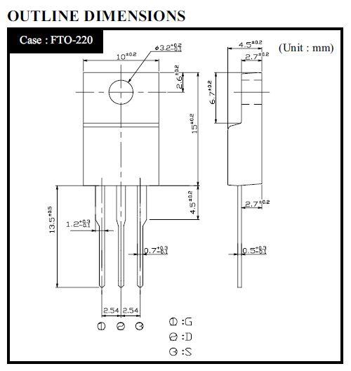 Tranzisztor N-MOSFET 700V 6A 50W <2R(3A) 2SK2333 2SK2333 -